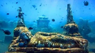 submerged Hindu temple